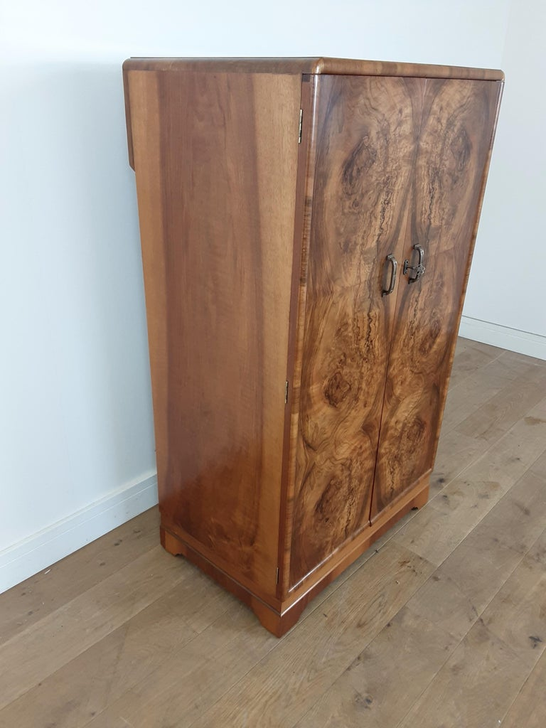 20th Century British Art Deco Figured Walnut Fitted Tallboy For Sale