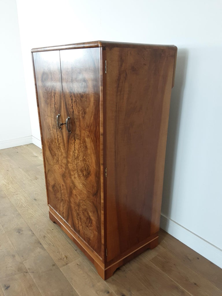 British Art Deco Figured Walnut Fitted Tallboy For Sale 2