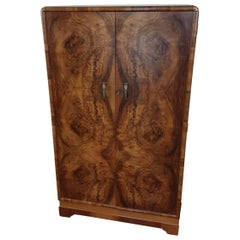 British Art Deco Figured Walnut Fitted Tallboy