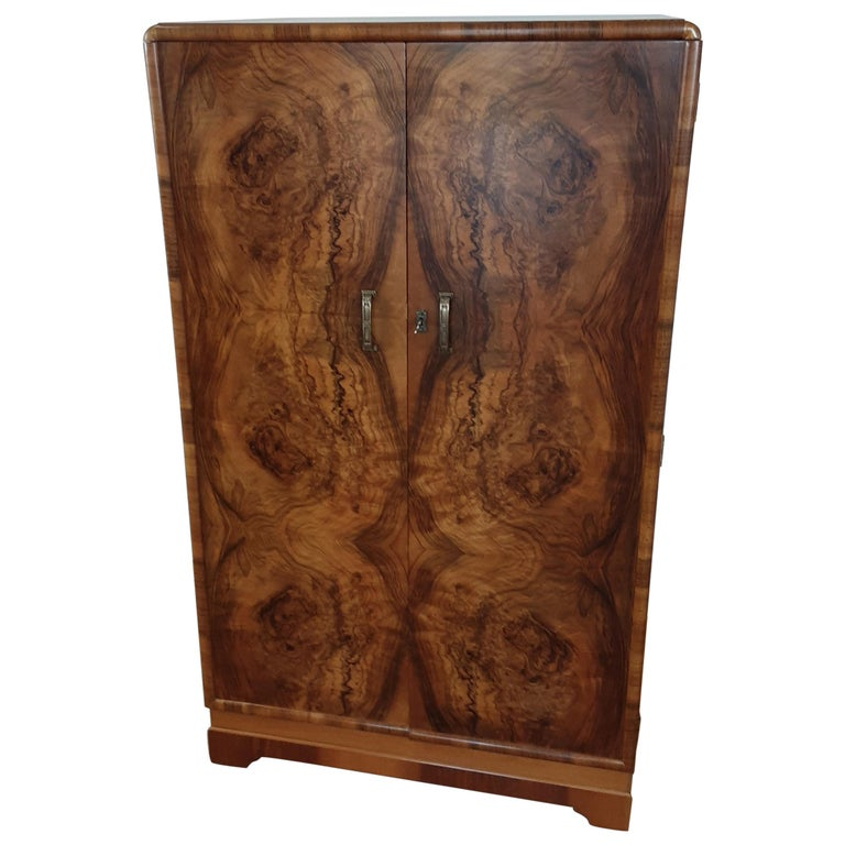 British Art Deco Figured Walnut Fitted Tallboy For Sale