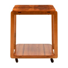 British Art Deco Figured Walnut Two Tier Side Table on Casters, c.1930