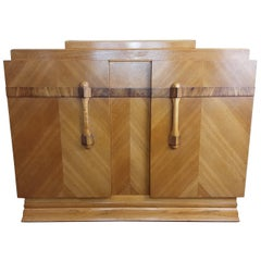 British Art Deco Golden Oak Sideboard Dry Bar with Cutlery Storage Box on Top