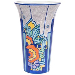 British Art Deco Hand Painted Vase, c.1930