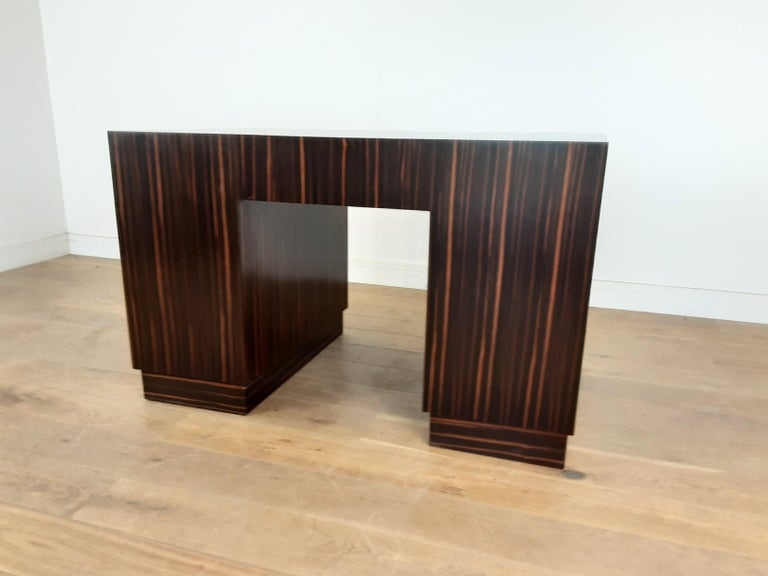 British Art Deco Macassar Desk with Bakelite Handles For Sale 11