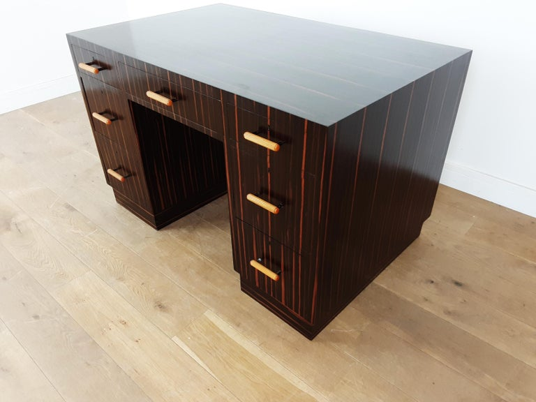 20th Century British Art Deco Macassar Desk with Bakelite Handles For Sale