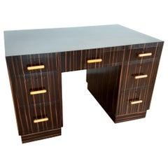 British Art Deco Macassar Desk with Bakelite Handles