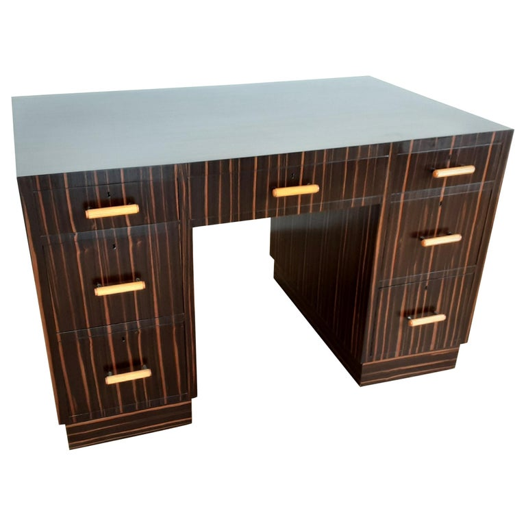 British Art Deco Macassar Desk with Bakelite Handles For Sale