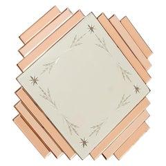 British Art Deco Peach Diamond Mirror, c.1930