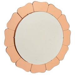 British Art Deco Peach Sunflower Mirror, c.1930