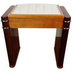 British Art Deco Piano Stool by Ministools in Satin Birch and Walnut