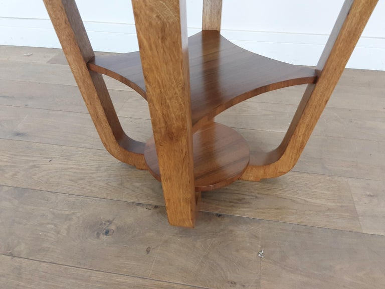 20th Century British Art Deco Side Table in a Burr Walnut For Sale