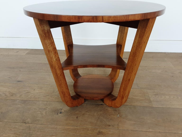 British Art Deco Side Table in a Burr Walnut For Sale 2