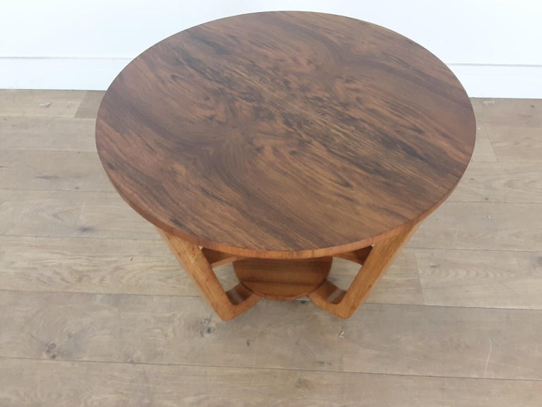 British Art Deco Side Table in a Burr Walnut For Sale 3