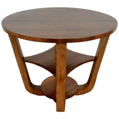 British Art Deco Side Table in a Burr Walnut