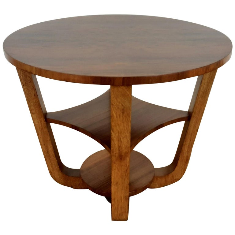 British Art Deco Side Table in a Burr Walnut For Sale