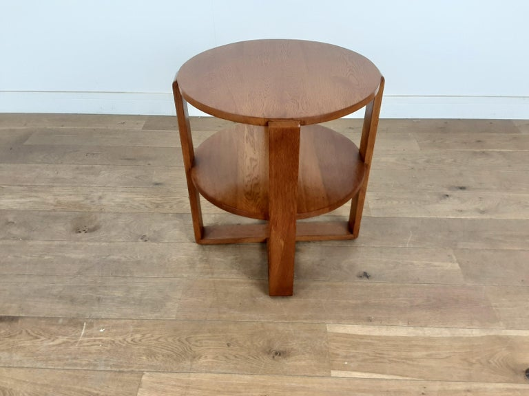 20th Century British Art Deco Side Table in Golden Oak For Sale
