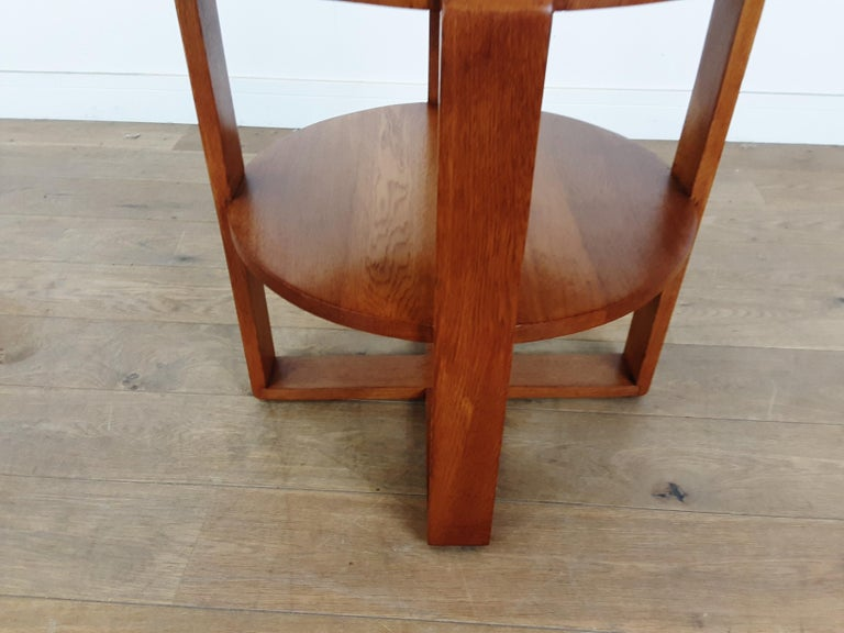 British Art Deco Side Table in Golden Oak For Sale 2