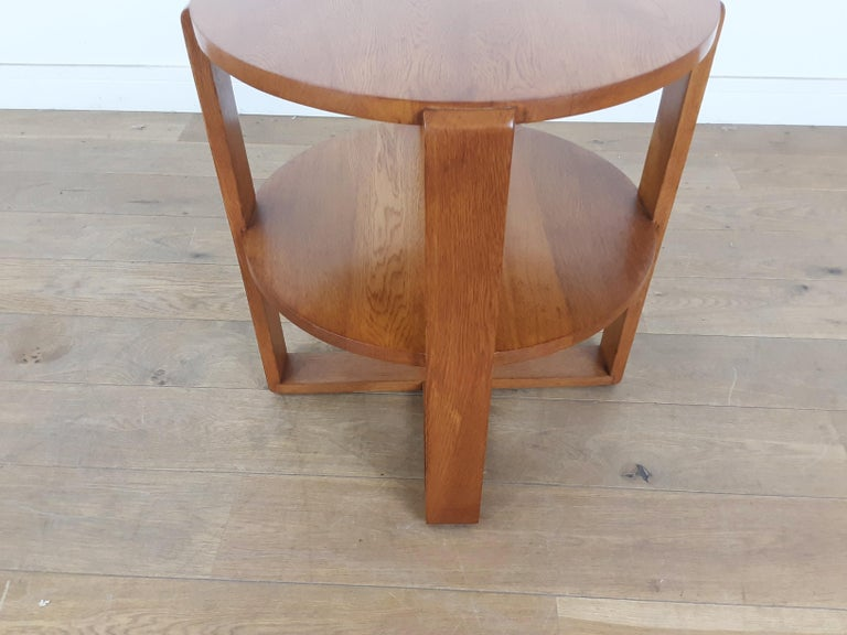 British Art Deco Side Table in Golden Oak For Sale 3
