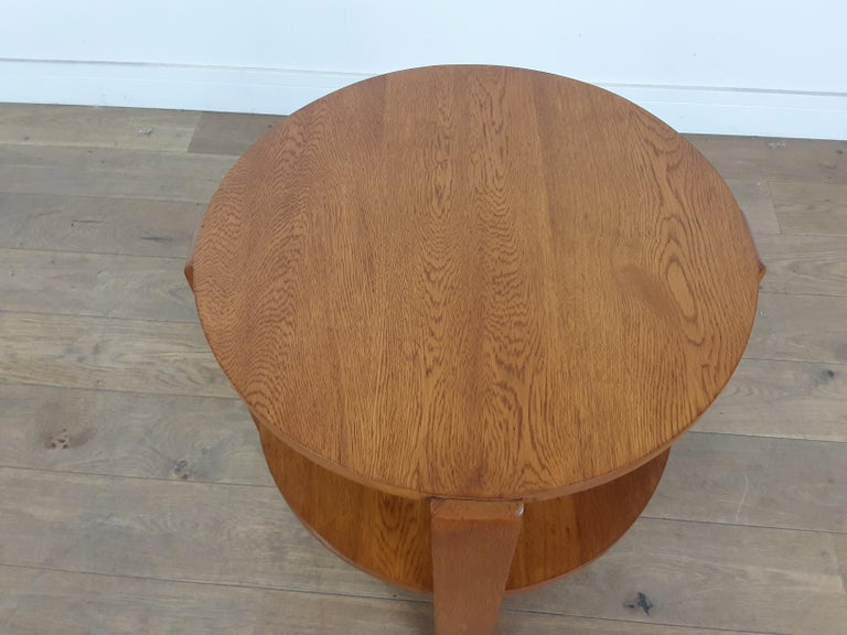 British Art Deco Side Table in Golden Oak For Sale 4