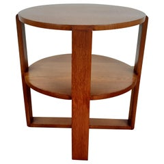 British Art Deco Side Table in Golden Oak