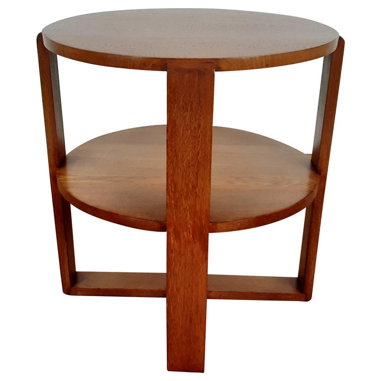 British Art Deco Side Table in Golden Oak For Sale