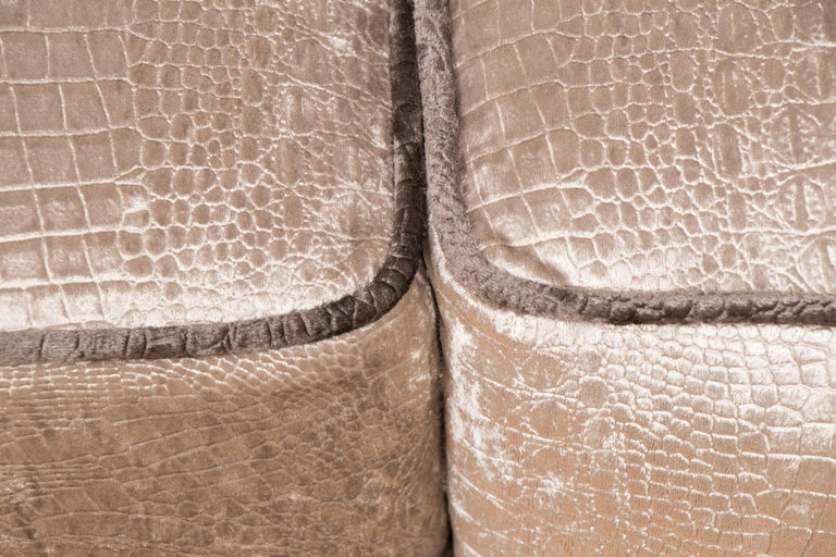 British Art Deco Sofa Newly Upholstered in a Silver Snakeskin Style Fabric For Sale 4