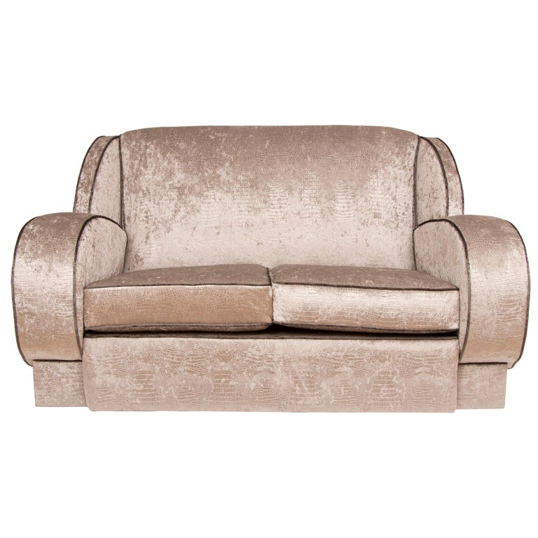 British Art Deco Sofa Newly Upholstered in a Silver Snakeskin Style Fabric For Sale