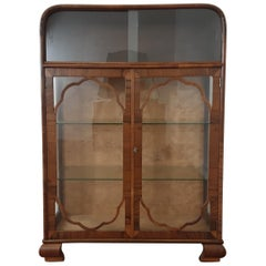 British Art Deco Walnut Display Cabinet Vitrine Bookcase