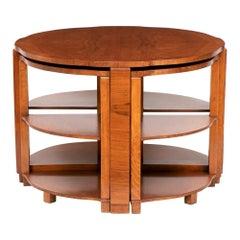 British Art Deco Walnut Nest of Five Tables, c.1930s
