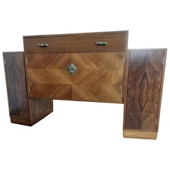 British Art Deco Walnut Sideboard with Stunning Diamond and Burr Veneers