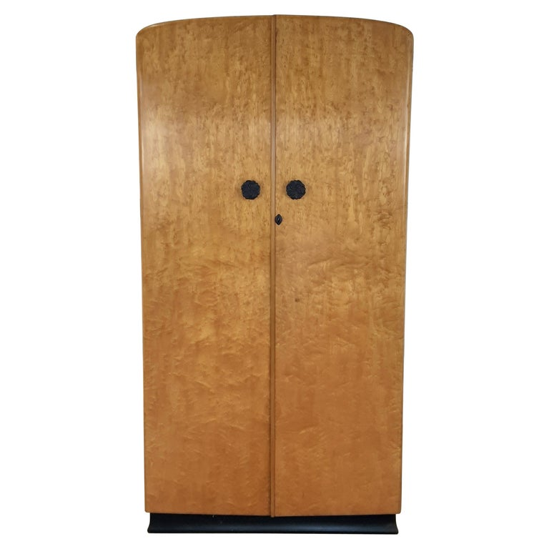 British Art Deco Wardrobe in a Golden Bird's-Eye Maple on an Ebony Base For Sale