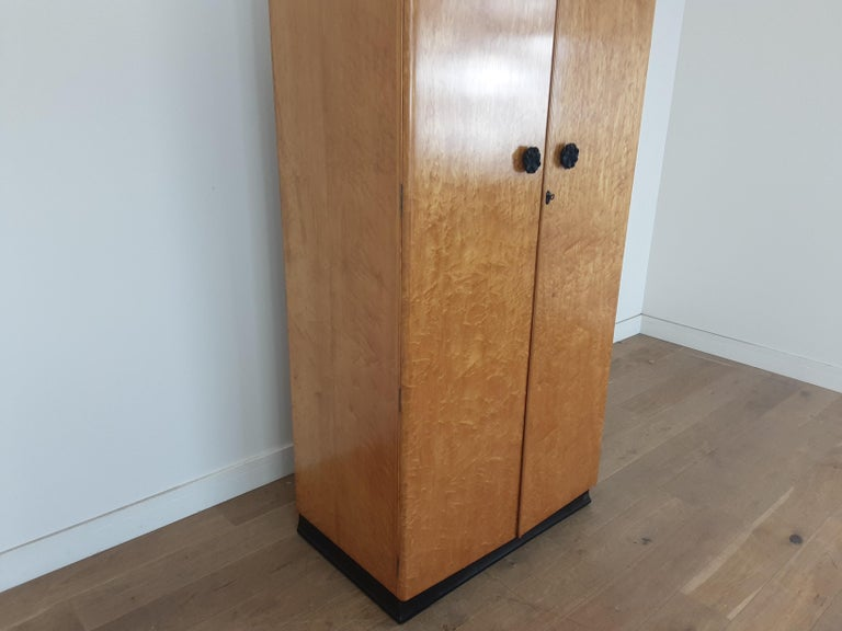 Birdseye Maple British Art Deco Wardrobe in a Golden Bird's-Eye Maple on an Ebony Base For Sale