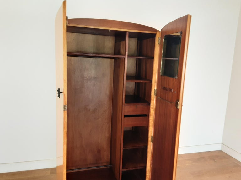 British Art Deco Wardrobe in a Golden Bird's-Eye Maple on an Ebony Base For Sale 2