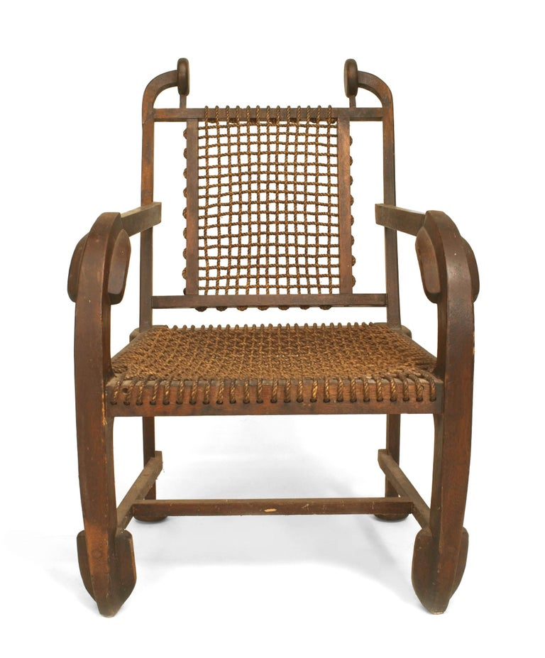 Arts and Crafts British Arts & Crafts Style Stained Oak Armchair For Sale