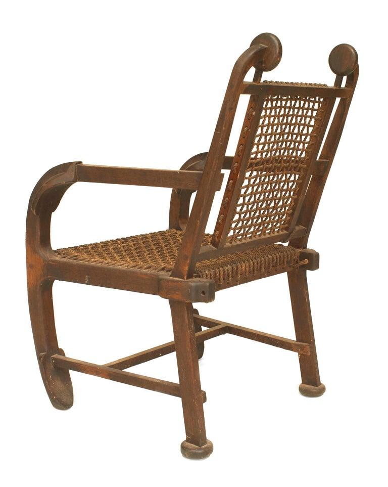 20th Century British Arts & Crafts Style Stained Oak Armchair For Sale