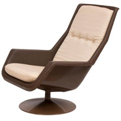 British Brown Acrylic Swivel Lounge Chair by Robin Day for Hille