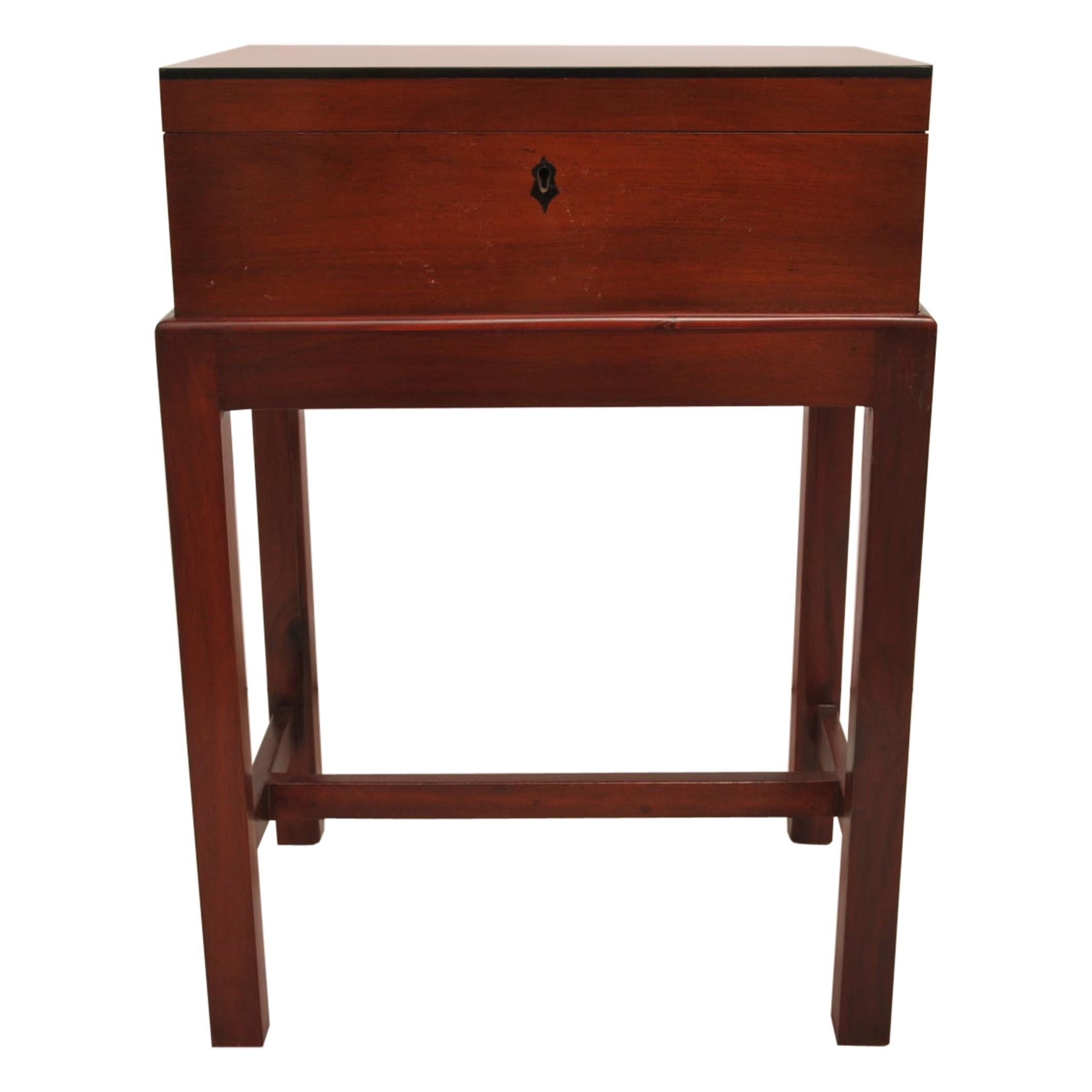 British Campaign Mahogany and Ebony Officer's Box or Chest on Stand, Early 1900