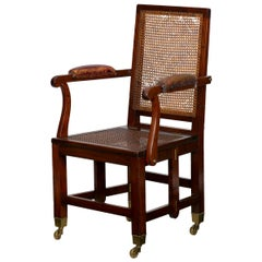 "British Campaign Mahogany ""Knock-Down"" Antique Armchair Johnstone & Jeanes"