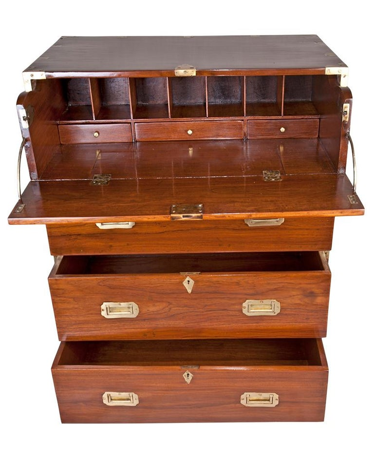 British Campaign Teak Wood Secretary, circa 1900 In Good Condition For Sale In Nantucket, MA