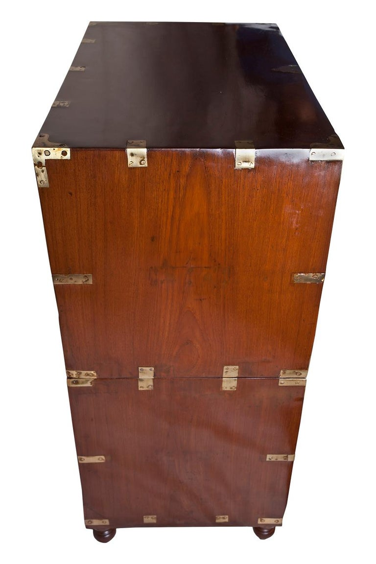 Brass British Campaign Teak Wood Secretary, circa 1900 For Sale