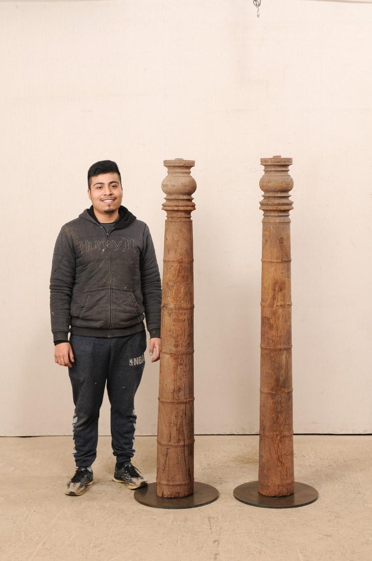 British Colonial 19th Century Carved Wood Columns For Sale 7