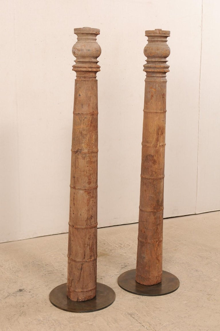 Iron British Colonial 19th Century Carved Wood Columns For Sale