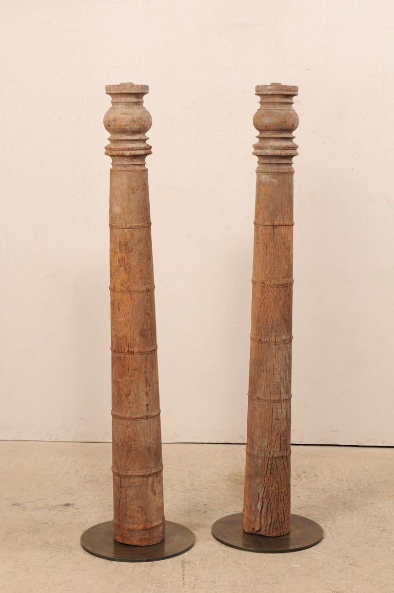 British Colonial 19th Century Carved Wood Columns For Sale 1