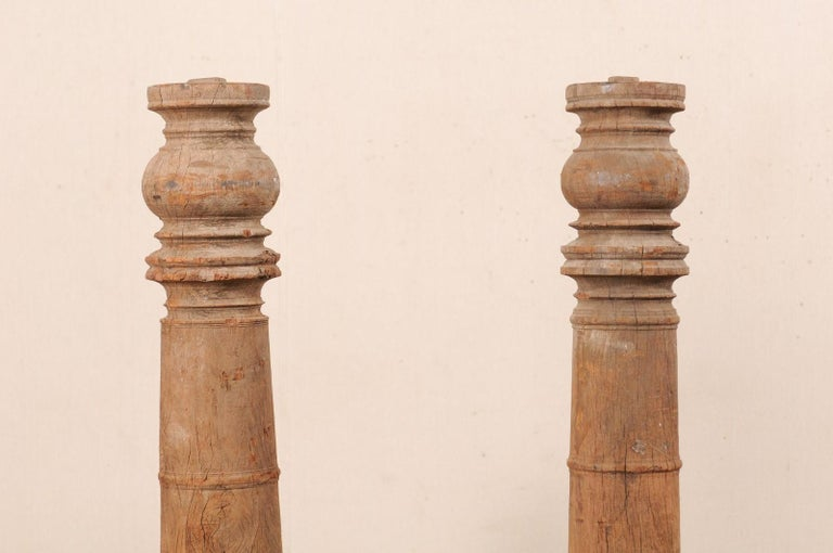 British Colonial 19th Century Carved Wood Columns For Sale 2