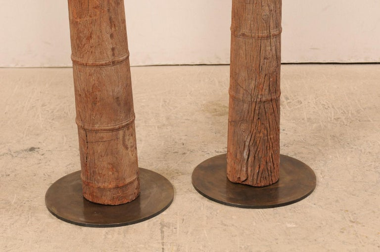 British Colonial 19th Century Carved Wood Columns For Sale 3