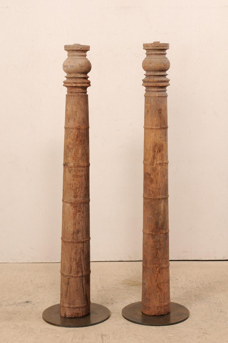 British Colonial 19th Century Carved Wood Columns For Sale 4