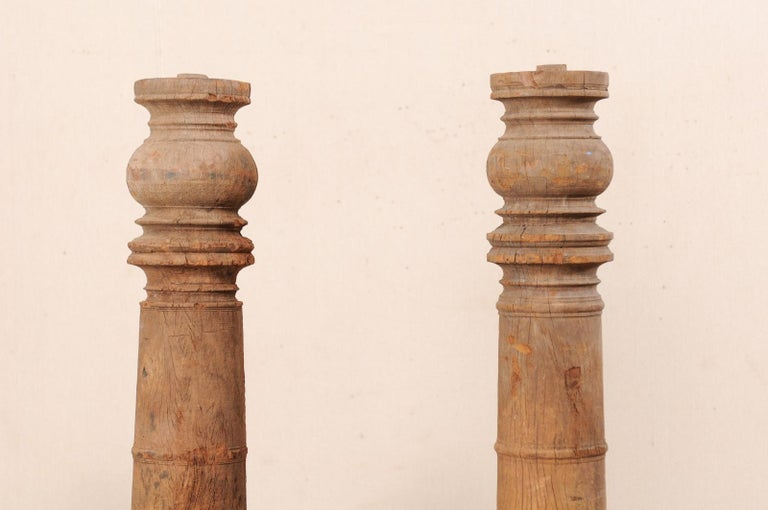 British Colonial 19th Century Carved Wood Columns For Sale 5