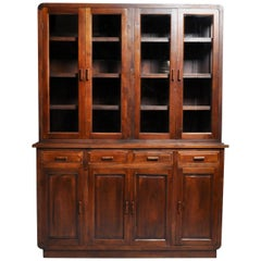 British Colonial Art Deco Breakfront Bookcase with Eight Doors and Four Drawers