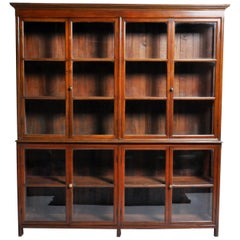 British Colonial Art Deco Breakfront Bookcase with Four Pairs of Doors