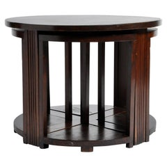 British Colonial Art Deco Round Coffee Table with Four Stools